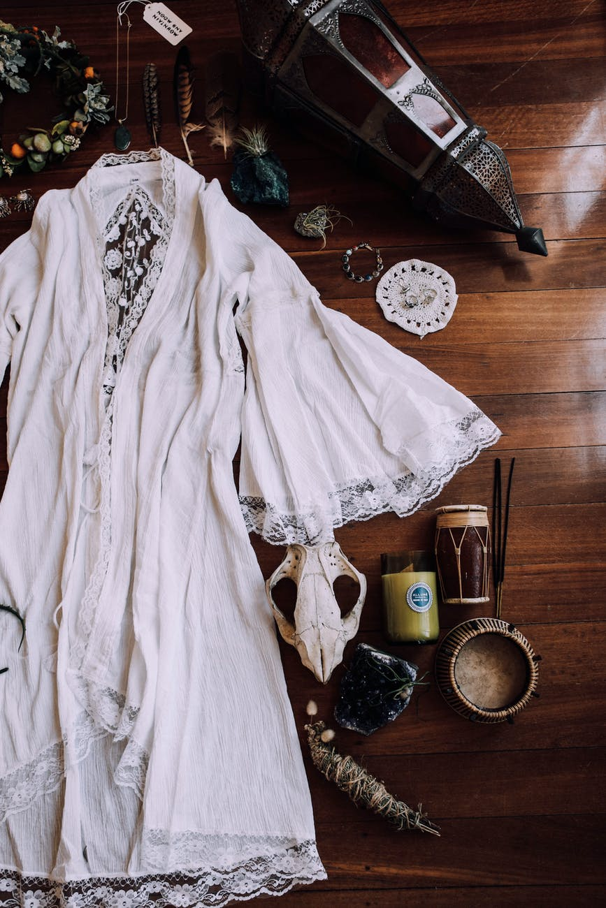vintage wedding dress and items prepared for ceremony