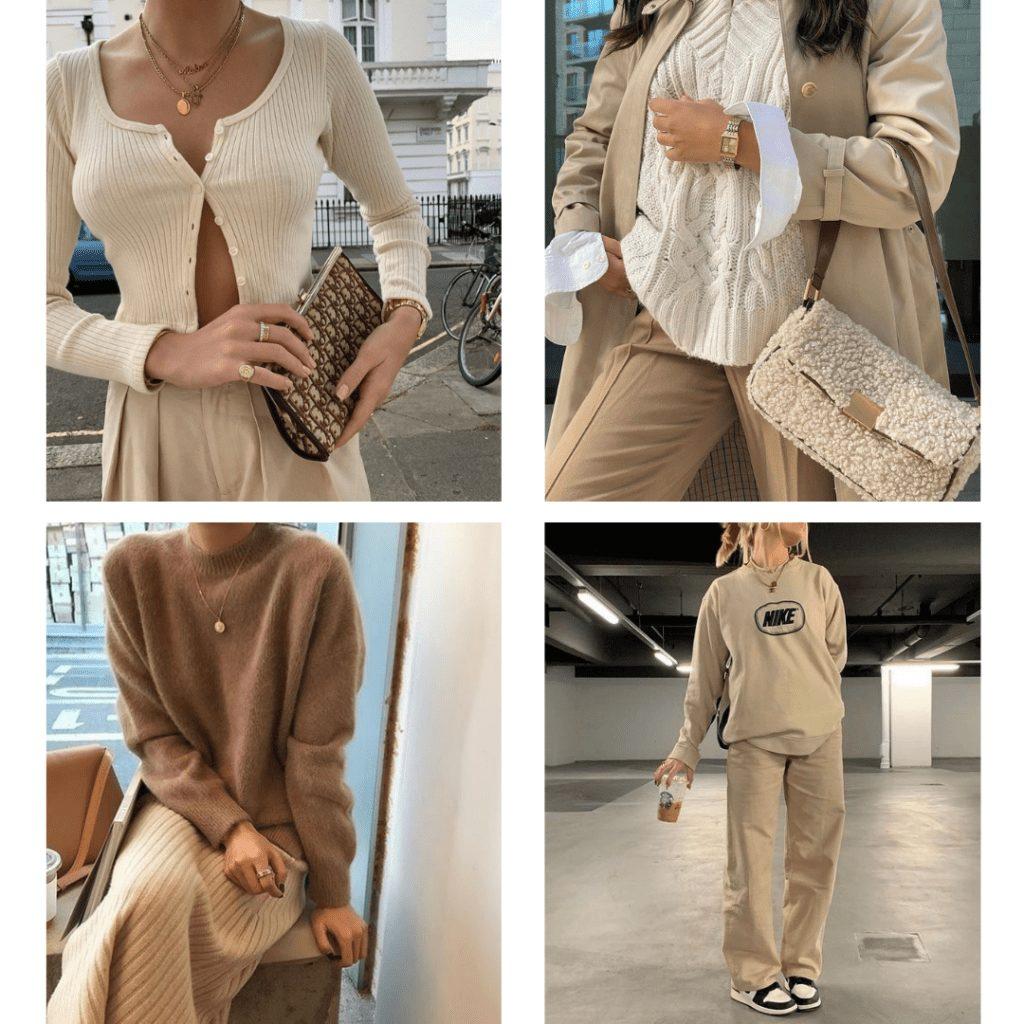 monochrome beige outfit ideas