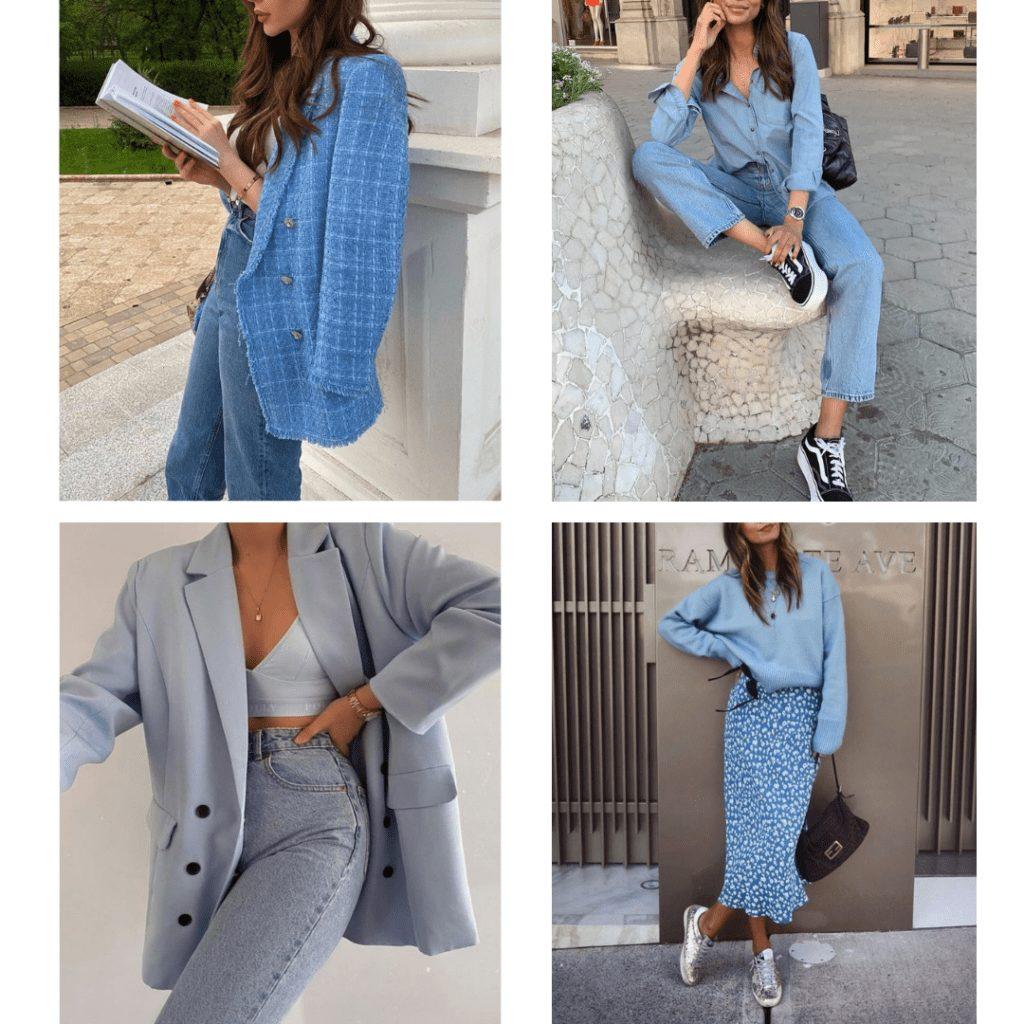 monochrome blue outfit ideas