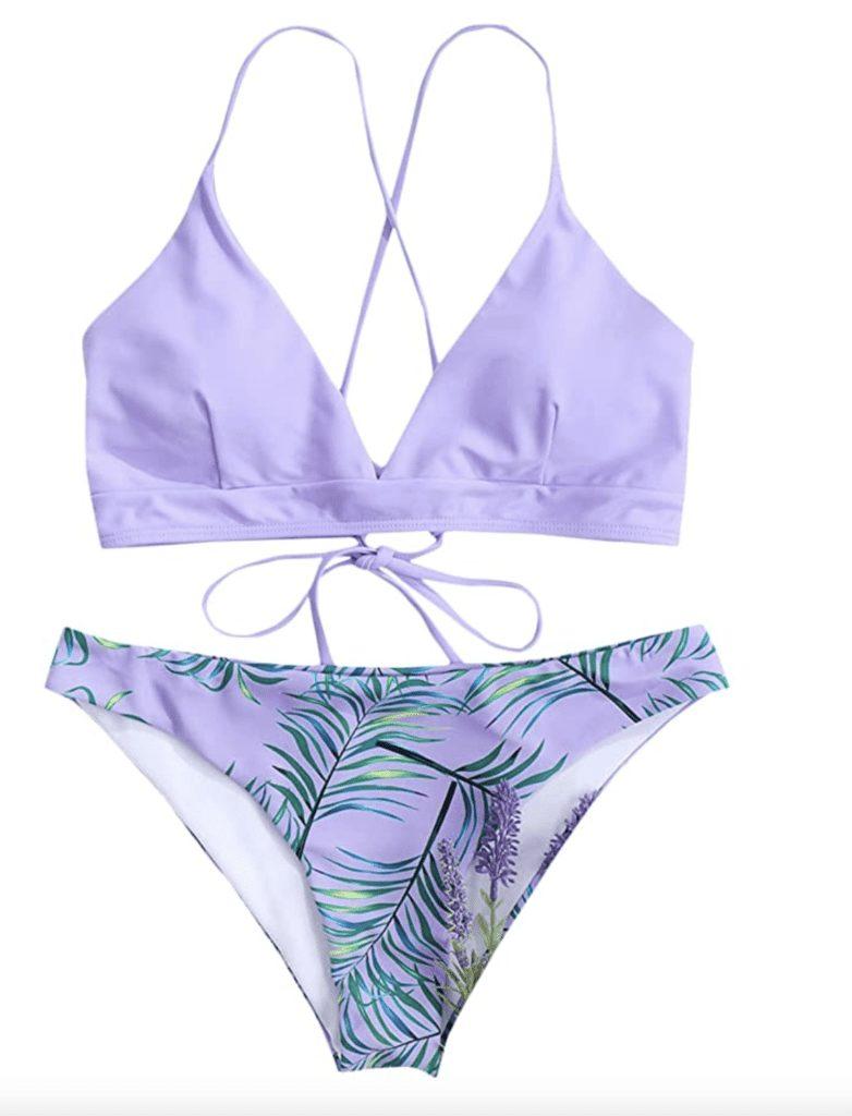 cross-back bikini swimsuit trends lavender lilac