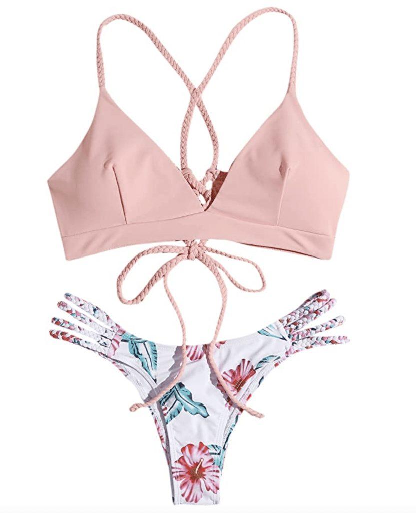 Pink cross-back bikini swimsuit trends flowers