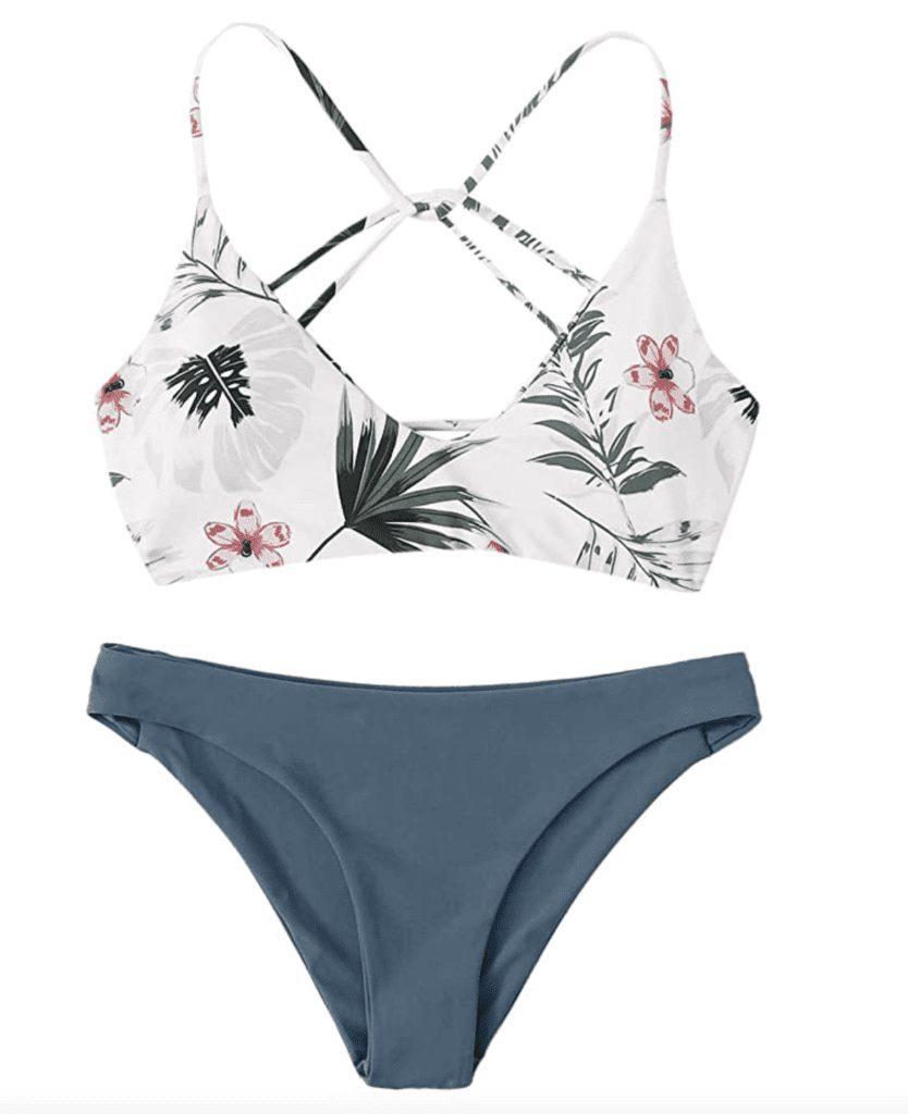 cross-back bikini swimsuit trends flowers