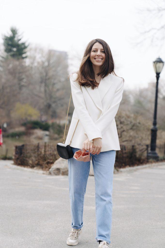 Stylish woman casual white blazer suit fashion look